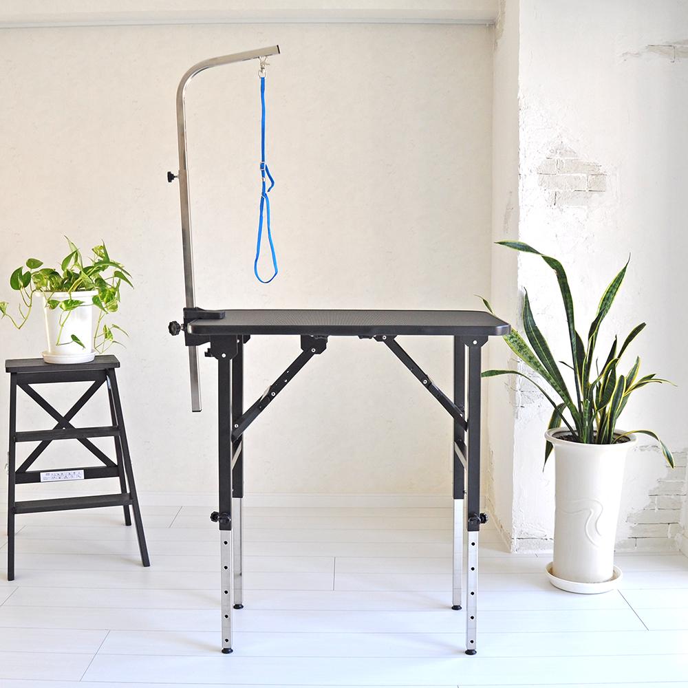 【おすすめ】 トリミングテーブル 6段階調節式 アーム付属 アジャスター付 Mサイズ 台面ブラック PVCフレーム 足ブラック 折畳機能 高さ約52~84cm 送料無料