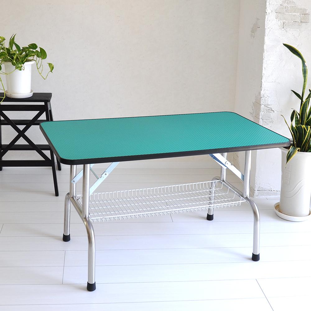 トリミングテーブル 超大型LLサイズ カゴ付 高さ65cm 110cm×60cm PVC 折畳機能付 送料無料