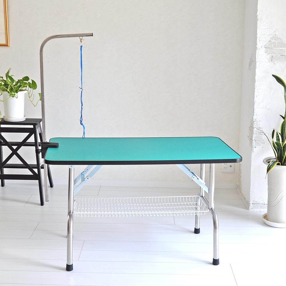 【おすすめ】 トリミングテーブル 外付けアーム付 超大型LLサイズ カゴ付 高さ65cm 110cm×60cm PVC 折畳機能付 送料無料