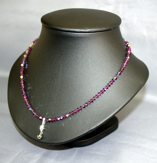 スワロフスキー ゲルマプチネックレス ダイヤシェイプ大 アメジスト42cm  N型99.99999%2粒 トップ6mm(大)1粒 留め具もゲルマを使用