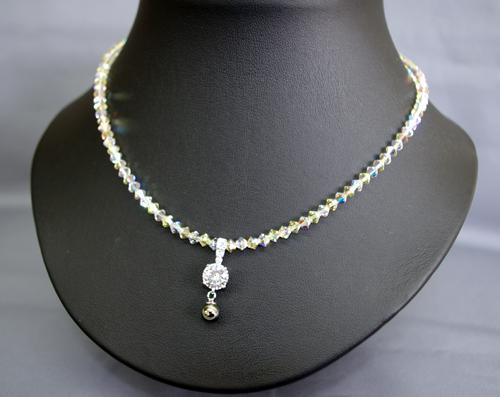 スワロフスキー ゲルマプチネックレス ダイヤ大 ジョンキルクリスタル42cm  N型99.99999%2粒 トップ6mm(大)1粒 留め具もゲルマを使用