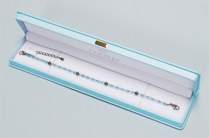 スワロゲルマ アンクレット L(23cm)アクアマリン・クリソライト N型99.99999%4粒使用 留め具チタンアジャスター5cm    10P18Oct13