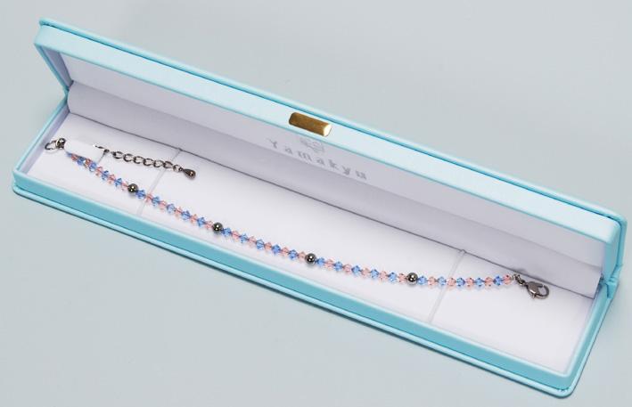 スワロゲルマ アンクレット L(23cm)ライトピーチ・アクアマリン N型99.99999%4粒使用 留め具チタンアジャスター5cm    10P18Oct13