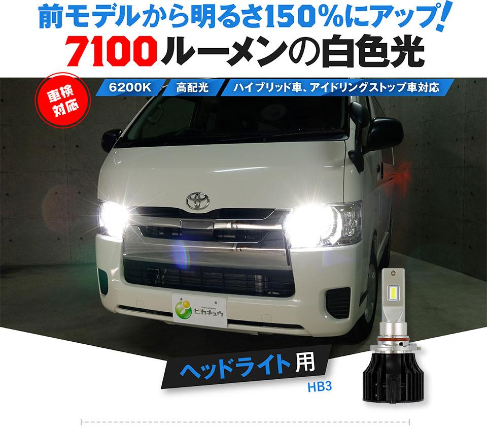 ☆LED MONSTER L7100 LEDハイビームバルブキット LEDカラー:ホワイト6200K バルブ規格:HB3[9005] 明るさ:7100ルーメン