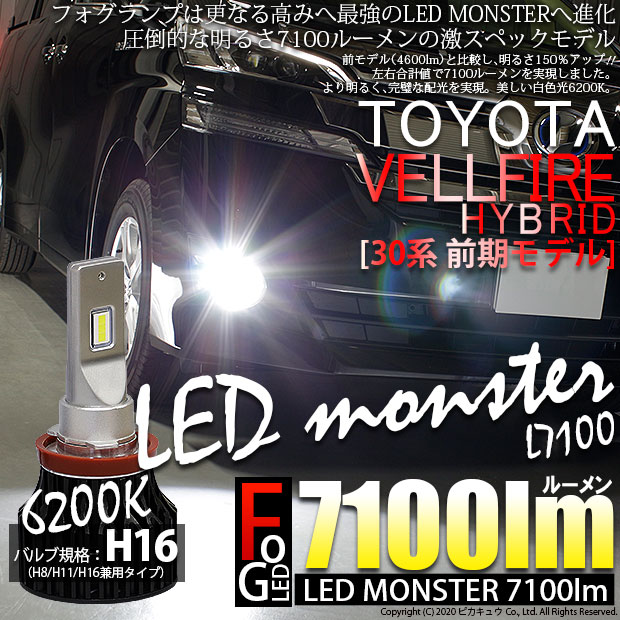 【霧灯】トヨタ ヴェルファイアハイブリッド[AYH30W]対応 LED MONSTER L7100 LEDモンスター 7100ルーメン LEDフォグランプキット LEDカラー:ホワイト6200K バルブ規格:H16