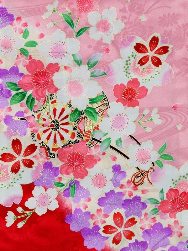 送料無料 七五三 七歳 着物 振袖 四つ身 正絹 つつじDTTJ 15ピンク系 花車 花柄 刺繍入 袴を合わせても 74Rc5AL3jq