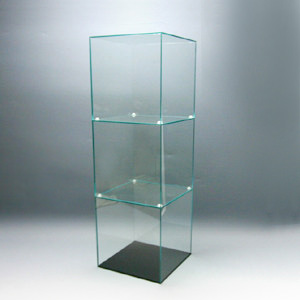 アクリル3段ケースC/5面体/ガラスエッジ/幅20cm/奥行20cm/高さ61.2cm
