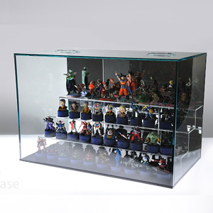 【送料無料】ガルウィングケース/ひな壇付/背面ミラー/ガラス色/フィギュアケース/コレクションケース/幅45cm/奥行25cm/高さ30cm