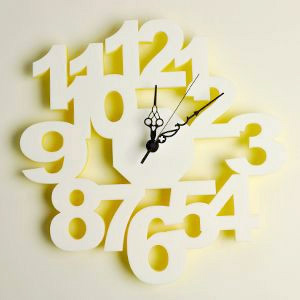 掛け時計/壁掛け時計/ロックロック ホワイトイエロー