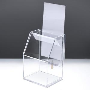 期間限定今なら送料無料 アクリルスライド募金箱 貴名受 プレゼント クリア 鍵付 A4三つ折チラシケース付 幅12cm