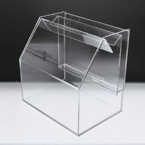 スライド募金箱 Lタイプクリア 鍵付 A4用紙用チラシケース付 高さ:25cm 幅:25cm 奥行:18cm 送料無料 激安 大人気 お買い得 キ゛フト