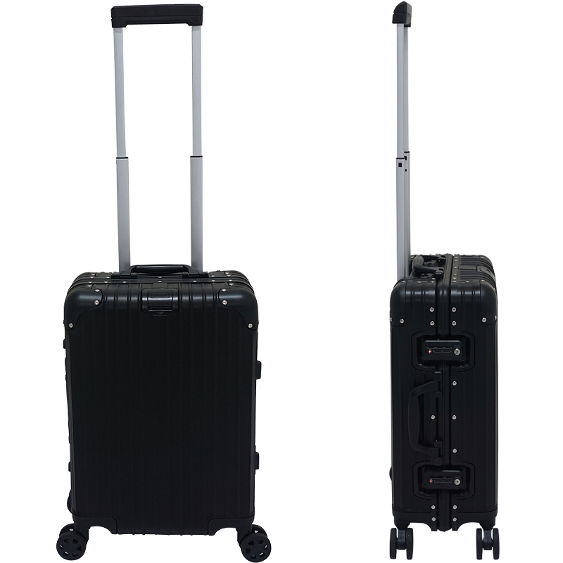 アルミニウム製スーツケース 色シルバー/ブラック Sサイズ 36L 20インチ 日本製ダブルキャスター TSAロック採用 キャリーケース 旅行かばん 旅行鞄 アルミスーツケース トランクケース