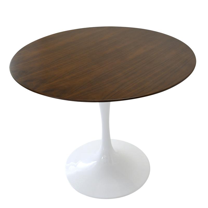 ダイニングテーブル 信頼 furniture チューリップテーブル 食卓テーブル サイドテーブル デザイナーズ家具 物品 リプロダクト 木製天板直径90cm 丸テーブル ジェネリック パーソナルテーブル 色ダークウォールナット ラウンドテーブル エーロサーリネンによるデザイン