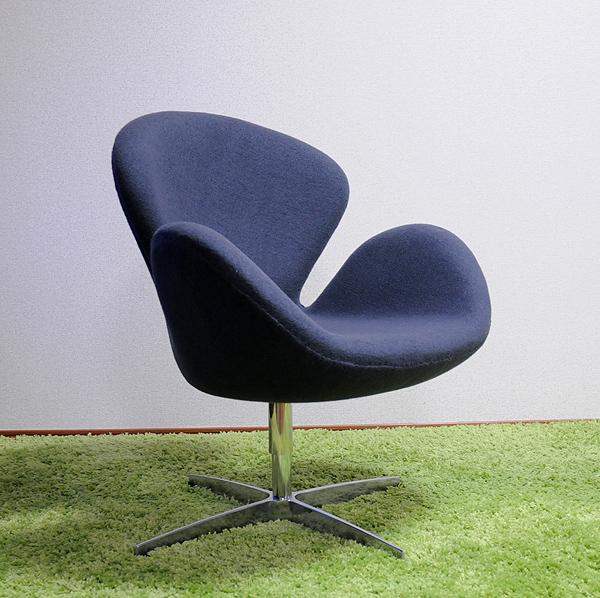 スワンチェア/最高級ファブリック仕様 カラー・グレー/座り心地は極上!1台1台職人による手作り・手縫い仕上げ アルネ・ヤコブセン作 リプロダクトの傑作 新品 パーソナルチェア 1人掛け 1人用 いす 椅子 イス