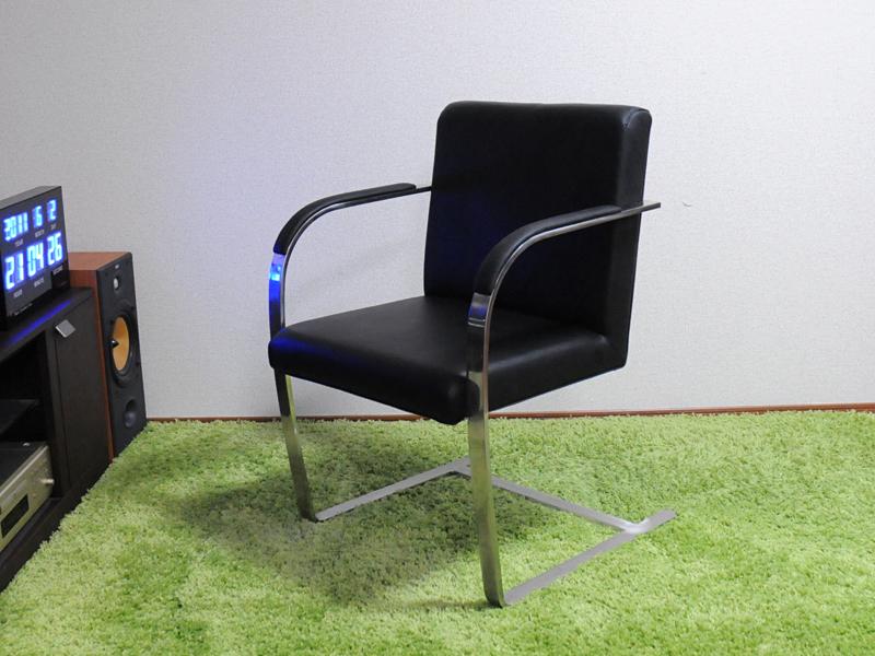 ブルーノチェア/イタリアンレザー本革仕様/カラー:ブラック/ミース・ファン・デル・ローエ作 新品 Brno Chair Italian leather ダイニングチェア パーソナルチェア カウンターチェア いす 椅子 イス 一人用