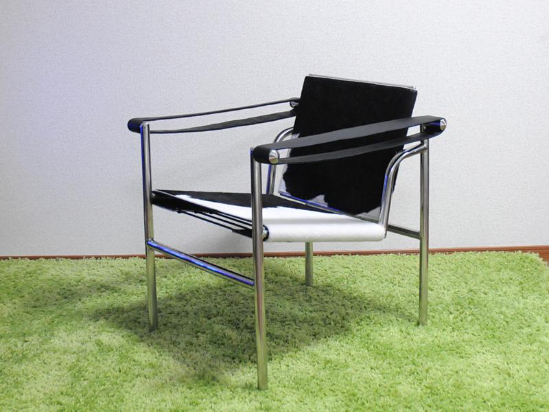 ル・コルビジェ LC1 ポニー スリングチェア ブラック×ホワイト 最高級ポニースキン仕様 LeCorbusierSling Chair Pony 椅子 イス いす パーソナルチェア 一人用 1人用 ダイニングチェア カウンターチェア