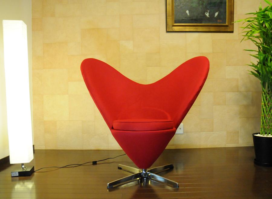 ハートチェア/ヴェルナー パントン デザイン/レッド/ファブリック Verner Panton heart chair 椅子 イス いす ソファ sofa 1人掛け 1人用 リビングチェア パーソナルチェア 応接イス デザイナーズ 上質 送料込