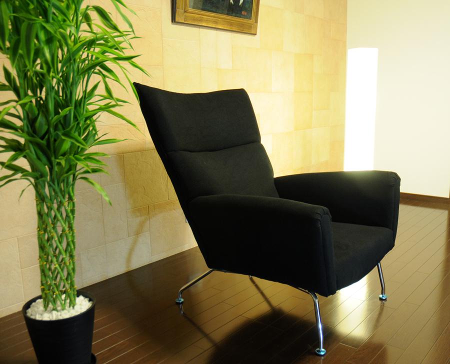 ウイングチェア/ハンス・ウェグナー/ファブリック仕様/black/新品 Hans.J.Wegner wing chair デザイナーズ モダン インテリア パーソナルソファ sofa  1人用 一人用 椅子 イス いす chair black 上質 上品 最高品質 送料込