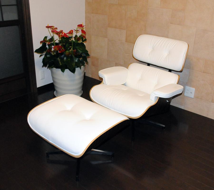 イームズラウンジチェア・オットマン 牛皮仕様 ホワイト×エボニーeames Lounge chair パーソナルチェア ミッドセンチュリー Charles & Ray Eames パーソナルチェア リクライニングチェア