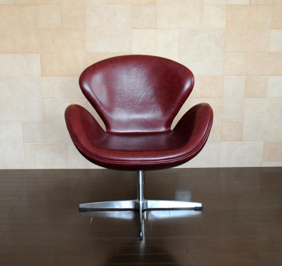 スワンチェア /レザー仕様/カラー・ワイン/座り心地は極上!1台1台職人による手作り・手縫い仕上げ アルネ・ヤコブセン作 リプロダクトの傑作 新品 suwan chair red Arne Jacobsen イス いす 椅子 パーソナルチェア カウンターチェア