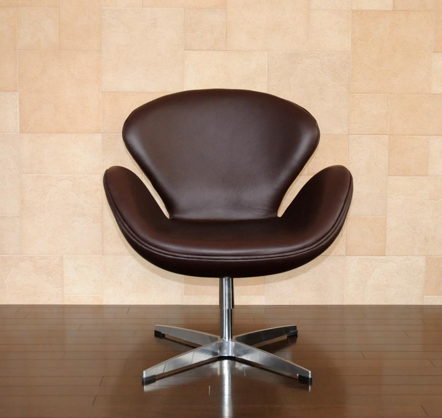 スワンチェア /レザー仕様/カラー ダークブラウン(こげ茶)/座り心地は極上!1台1台職人による手作り・手縫い仕上げ アルネ・ヤコブセン作 リプロダクトの傑作 新品 suwan chair red Arne Jacobsen イス いす 椅子 パーソナルチェア