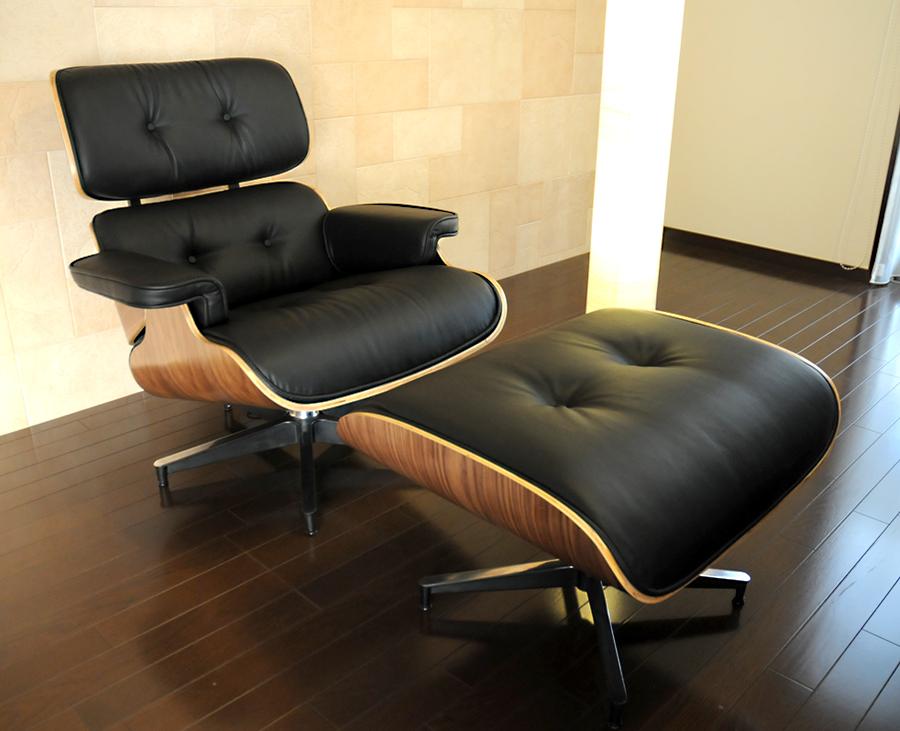 イームズ ラウンジチェア・オットマンセット■ソフトPUレザー仕様 ブラック×ウォールナット/座り座り心地は極上/eames Lounge chair パーソナルチェア ミッドセンチュリー Charles & Ray Eames パーソナルチェア