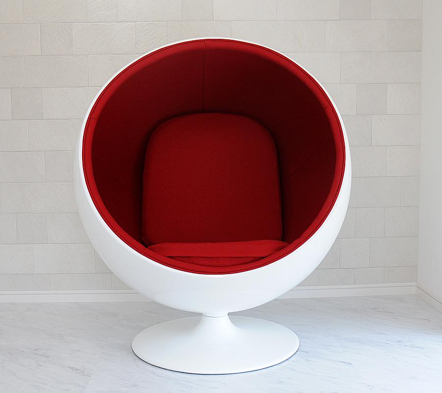 ボールチェア/エーロ・アールニオ デザイン/ホワイト×レッド Eero Aarnio ball chair ミッドセンチュリー パーソナルソファ 一人掛け リビング家具 応接家具 デザイナーズ家具 北欧