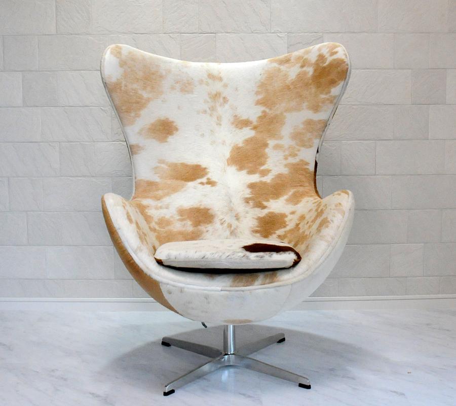 エッグチェア/ポニースキン仕様/ブラウン×ホワイト/アルネヤコブセン リプロダクトの傑作 新品 eggchair デザイナーズ パーソナルチェア 椅子 イス いす 1人掛け 1人用 ソファ pony skin 送料込