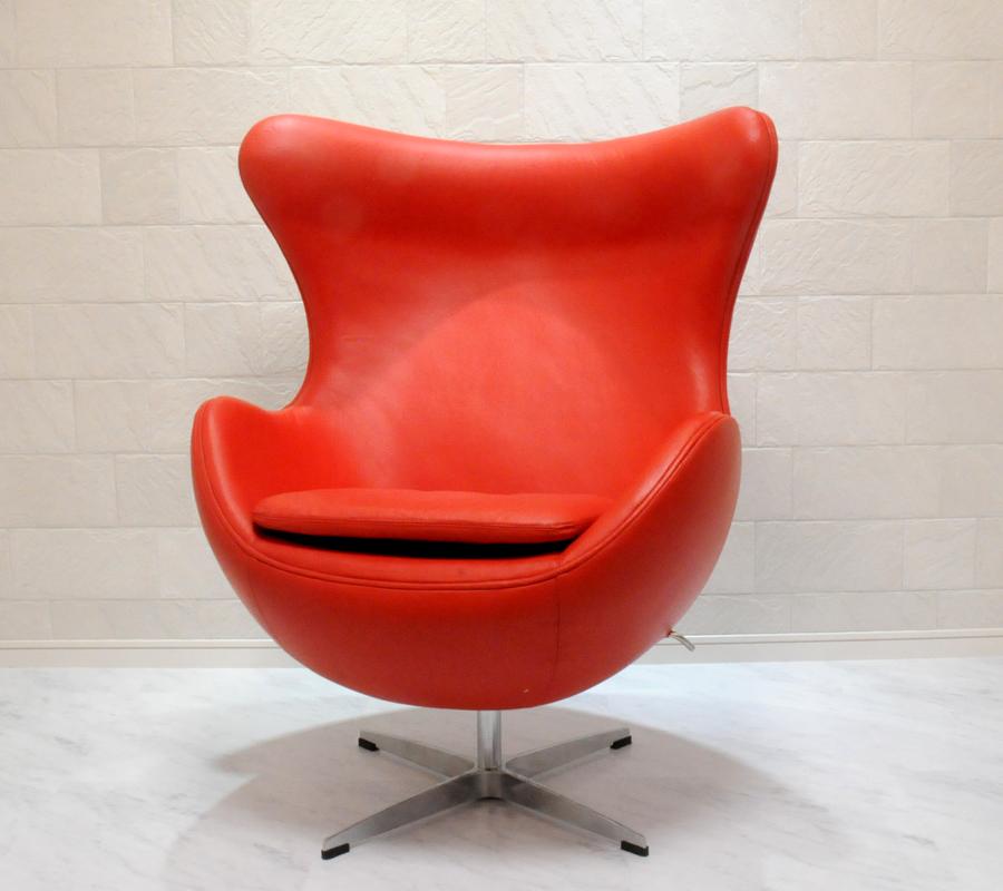 エッグチェア/牛皮 レザー仕様 レッド/アルネ・ヤコブセン/新品 eggchair デザイナーズ パーソナルチェア パーソナルソファ 1人掛け 1人用 ソファ 椅子 いす イス eggchair leather Arne Jacobsen