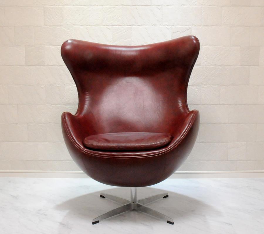 エッグチェア/レザー仕様 ワイン/アルネ・ヤコブセン/新品 eggchair デザイナーズ パーソナルチェア パーソナルソファ 1人掛け 1人用 ソファ 椅子 いす イス eggchair leather Arne Jacobsen