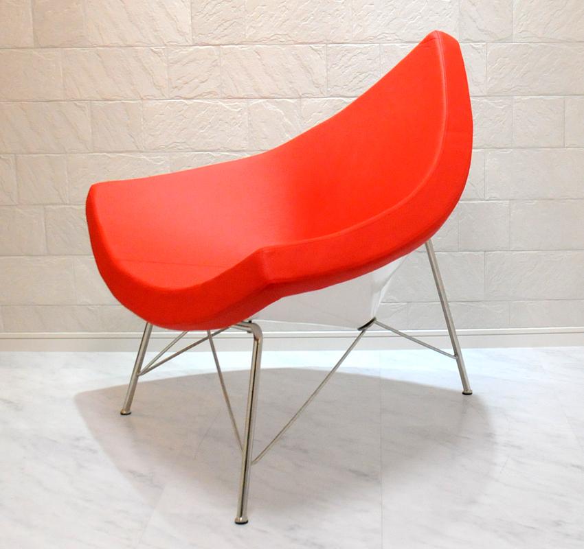 ココナッツチェア レッド/ジョージ・ネルソン作/新品 George Nelson Coconut Chair デザイナーズ パーソナルチェア 1人用 1人掛け いす イス 椅子 インテリア