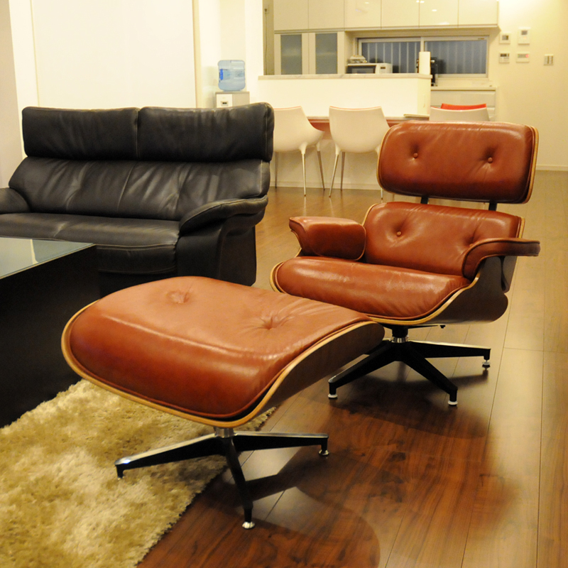 Eames Lounge Chair And Ottoman Set □ Color/Tan □ The Finest Total Leather  Sitting Comfortable Is Superb! /Charles Ray Eames Personal Chair Chair Per  ...