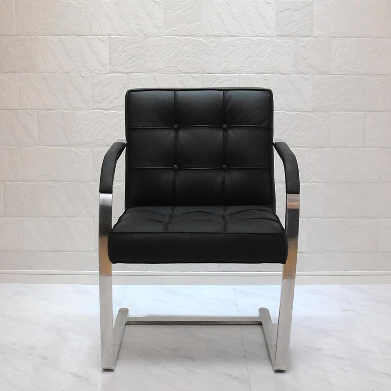 ブルーノチェア/イタリアンレザー本革キルティング加工仕様/カラー:ブラック/ミース・ファン・デル・ローエ作 新品 Brno Chair Italian leather ダイニングチェア パーソナルチェア カウンターチェア いす 椅子 イス 一人用