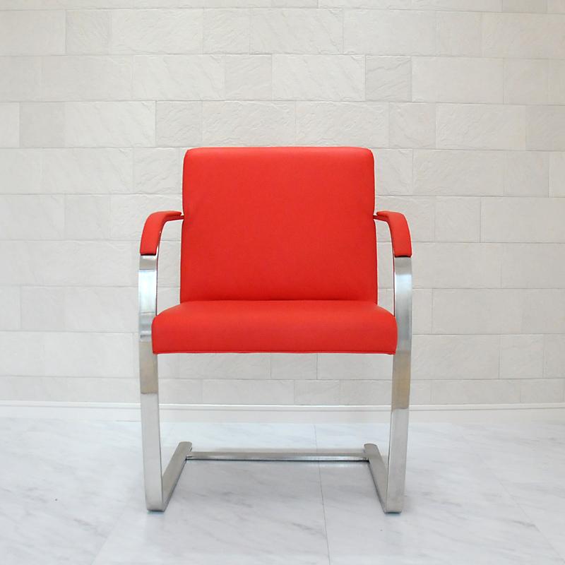 ブルーノチェア/イタリアンレザー本革仕様/カラー:レッド/ミース・ファン・デル・ローエ作 新品 Brno Chair Italian leather ダイニングチェア パーソナルチェア カウンターチェア いす 椅子 イス 一人用