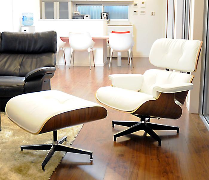 イームズ ラウンジチェア・オットマンセット/ホワイト×ウォールナット/総本革 座り座り心地は極上!/Charles Ray Eames パーソナルチェア 1人用 1人掛け 椅子 いす イス