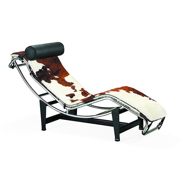 ル・コルビジェ LC4 シェーズロング ポニースキン仕様 ブラウン×ホワイト Le Corbusier リプロダクト デザイナーズ家具 ベッド ソファベッド ルコルビジェ パーソナルソファ 一人用 一人掛け
