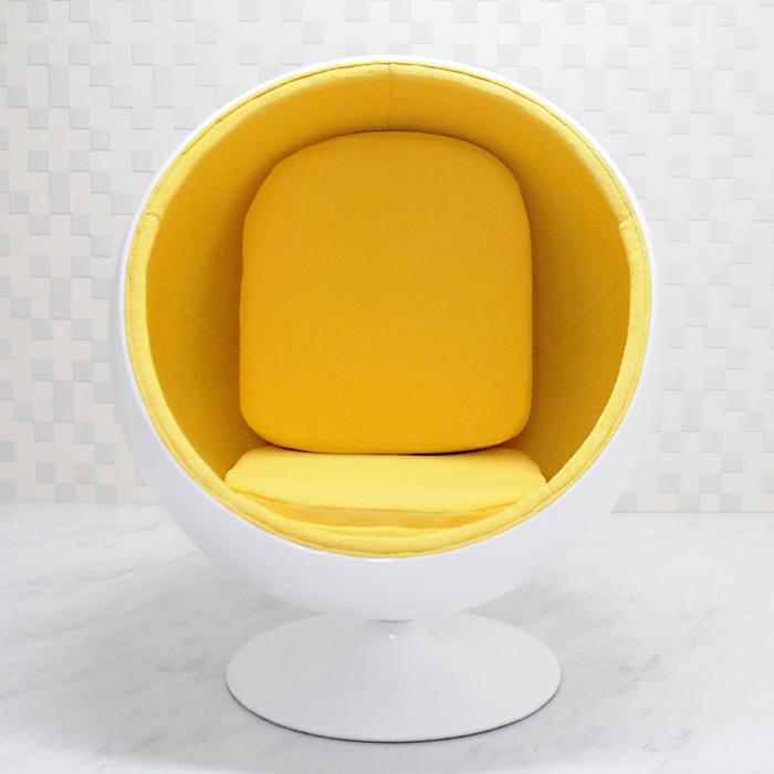 ボールチェア/エーロ・アールニオ デザイン/ホワイト×イエロー Eero Aarnio ball chair ミッドセンチュリー パーソナルソファ 一人掛け リビング家具 応接家具 デザイナーズ家具