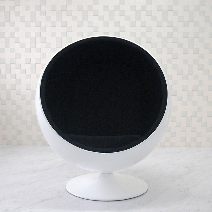 Ball Chair Eero Aarnio Design White X Black Mid Century Personal Sofa One Seat Living Furniture Reception Designer