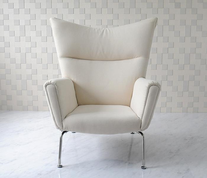 ウイングチェア/ハンス・ウェグナー/ファブリック仕様/アイボリー/新品 Hans.J.Wegner wing chair デザイナーズ モダン インテリア パーソナルソファ sofa  1人用 一人用 椅子 イス いす 送料込
