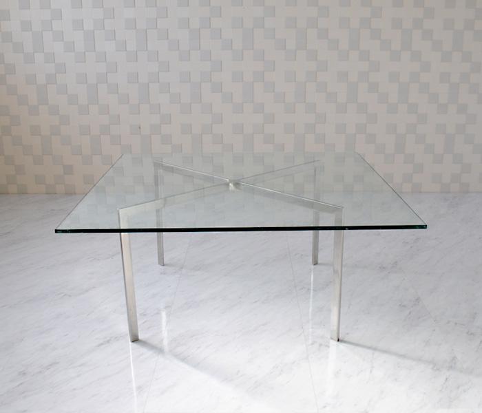 バルセロナテーブル ミース・ファン・デル・ローエ 1000mm×1000mm ガラス製 ローテーブル センターテーブル ダイニングテーブル