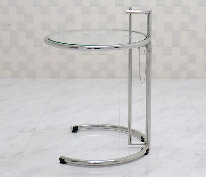 アイリーングレイ アイリーンテーブル 高さ調整可能 サイドテーブル ガラステーブル ナイトテーブル コーヒーテーブル