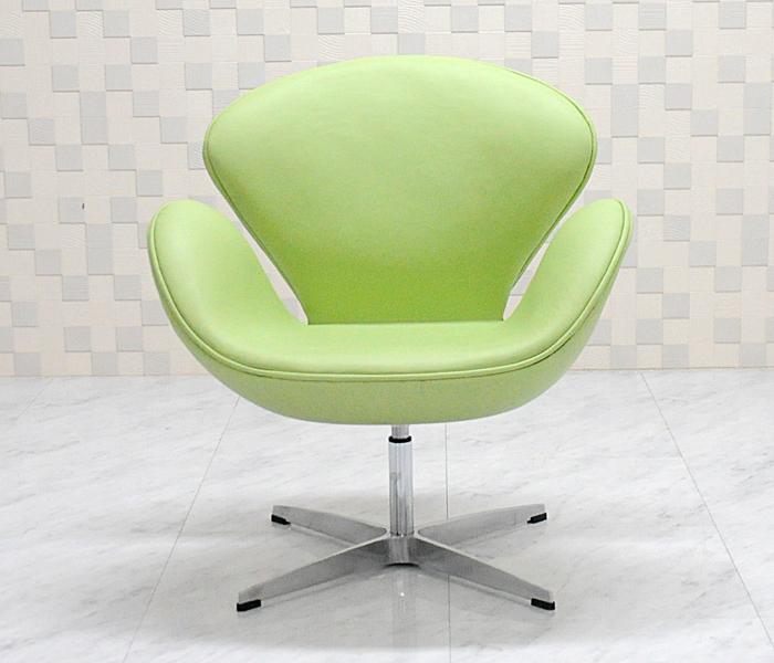 スワンチェア /レザー仕様/カラー ライトグリーン/座り心地は極上!1台1台職人による手作り・手縫い仕上げ アルネ・ヤコブセン作 リプロダクトの傑作 新品 suwan chair red Arne Jacobsen イス いす 椅子 パーソナルチェア カウンターチェア