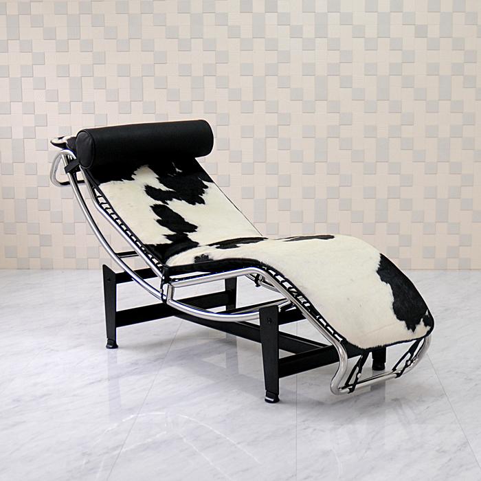 ル・コルビジェ LC4 シェーズロング ポニースキン仕様 ブラック×ホワイト Le Corbusier リプロダクト デザイナーズ家具 ベッド ソファベッド ルコルビジェ パーソナルソファ 一人用 一人掛け