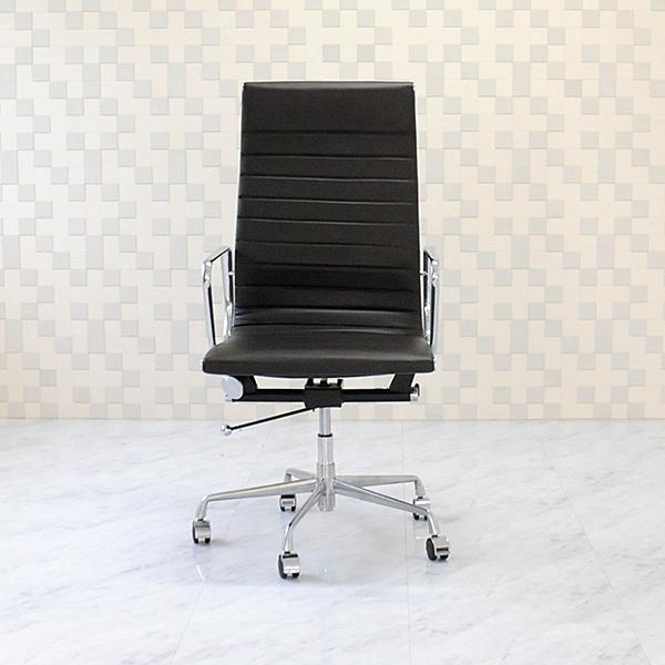 イームズ アルミナムグループチェア 本皮仕様 ダークブラウン ハイバックオフィスチェア パソコンチェア デスクチェア eames aluminum group chair