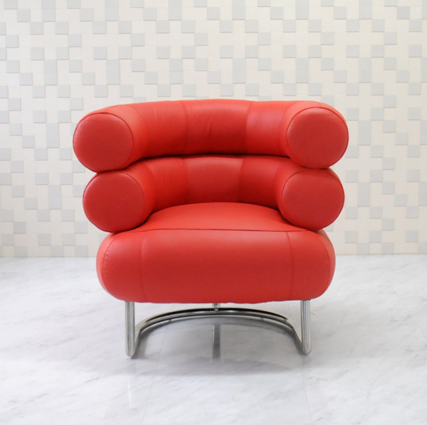 ビベンダムチェア アイリーン・グレイ イタリアンレザー本革仕様 レッド アイリーン・グレイ作 BibendumChair Eileen Gray ソファ ソファー sofa 椅子 いす イス