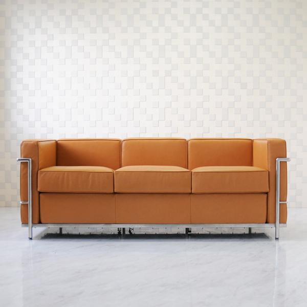 ル・コルビジェ LC2 3P ブラウン 総本革 アニリンレザー仕様 ソファ ソファー sofa 3人用 3人掛け ルコルビジェ Le Corbusier