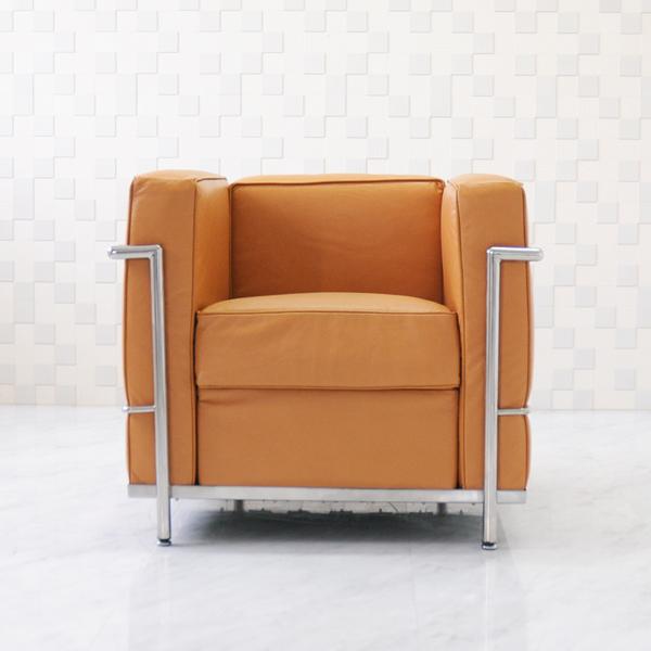 【B級アウトレット】ル・コルビジェ LC2 1P ブラウン 総本革 アニリンレザー仕様 ソファ ソファー sofa 1人用 1人掛け ルコルビジェ Le Corbusier