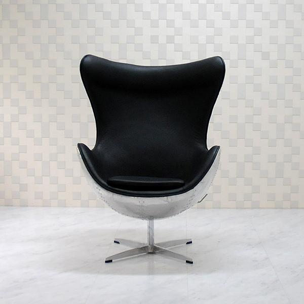 エッグチェア アルミニウム外装 レザー仕様 ブラックアルネ・ヤコブセン/ソファ ソファー 椅子 いす イス パーソナルチェア パーソナルソファ 1人掛け 1人用 eggchair Arne Jacobsen