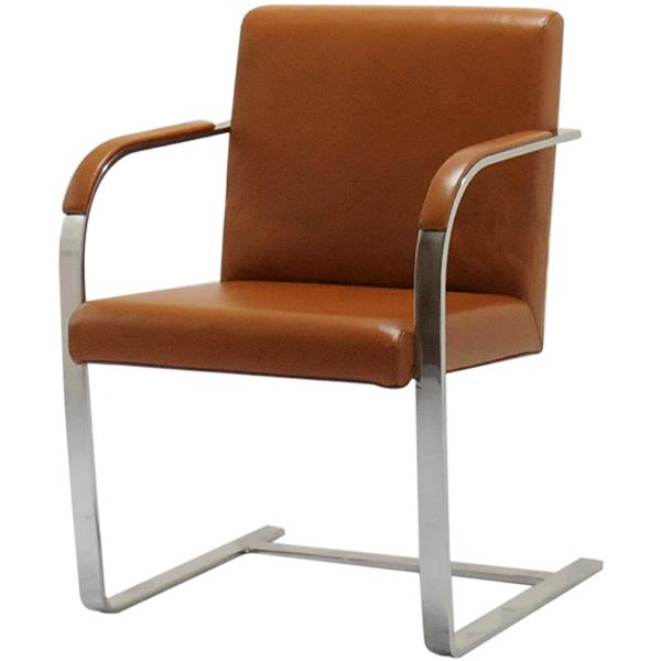 ブルーノチェア/イタリアンレザー本革仕様/カラー:ブラウン/ミース・ファン・デル・ローエ作 新品 Brno Chair Italian leather ダイニングチェア パーソナルチェア カウンターチェア いす 椅子 イス 一人用