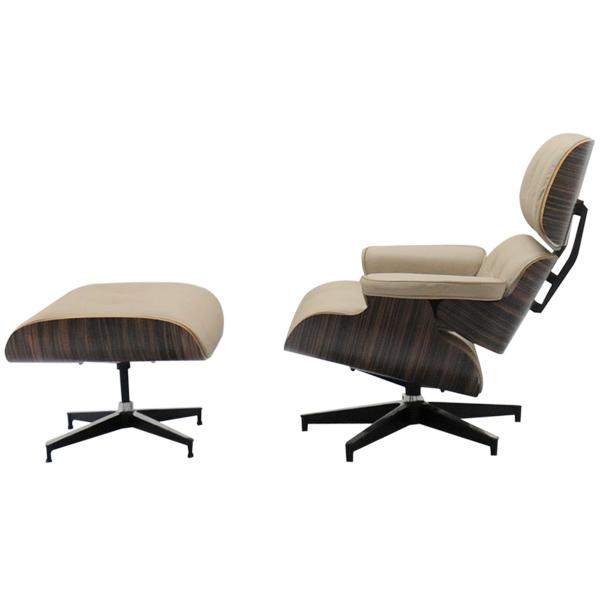 イームズラウンジチェア モスベージュ×エボニー 総本革CharlesRayEames パーソナルチェア 1人用 1人掛け 椅子 いす イス ソファ ソファー チャールズ&レイ・イームズ